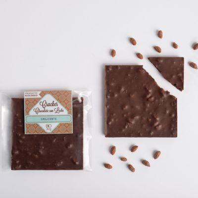 Chocolatina ecológica. Chocolate con leche crujiente.