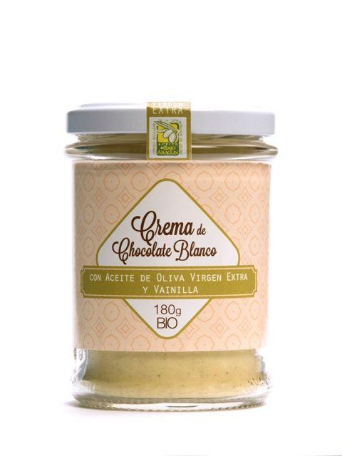 Crema de chocolate ecológico Blanco con Aceite de Oliva Virgen Extra y Vainilla. Ecológico.