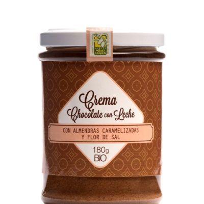 Crema gourmet de chocolate ecológico para untar. Con Almendras caramelizadas y flor de sal.