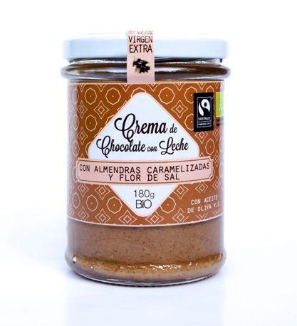 crema chocolate con leche ecologica almendras caramelizadas y flor de sal