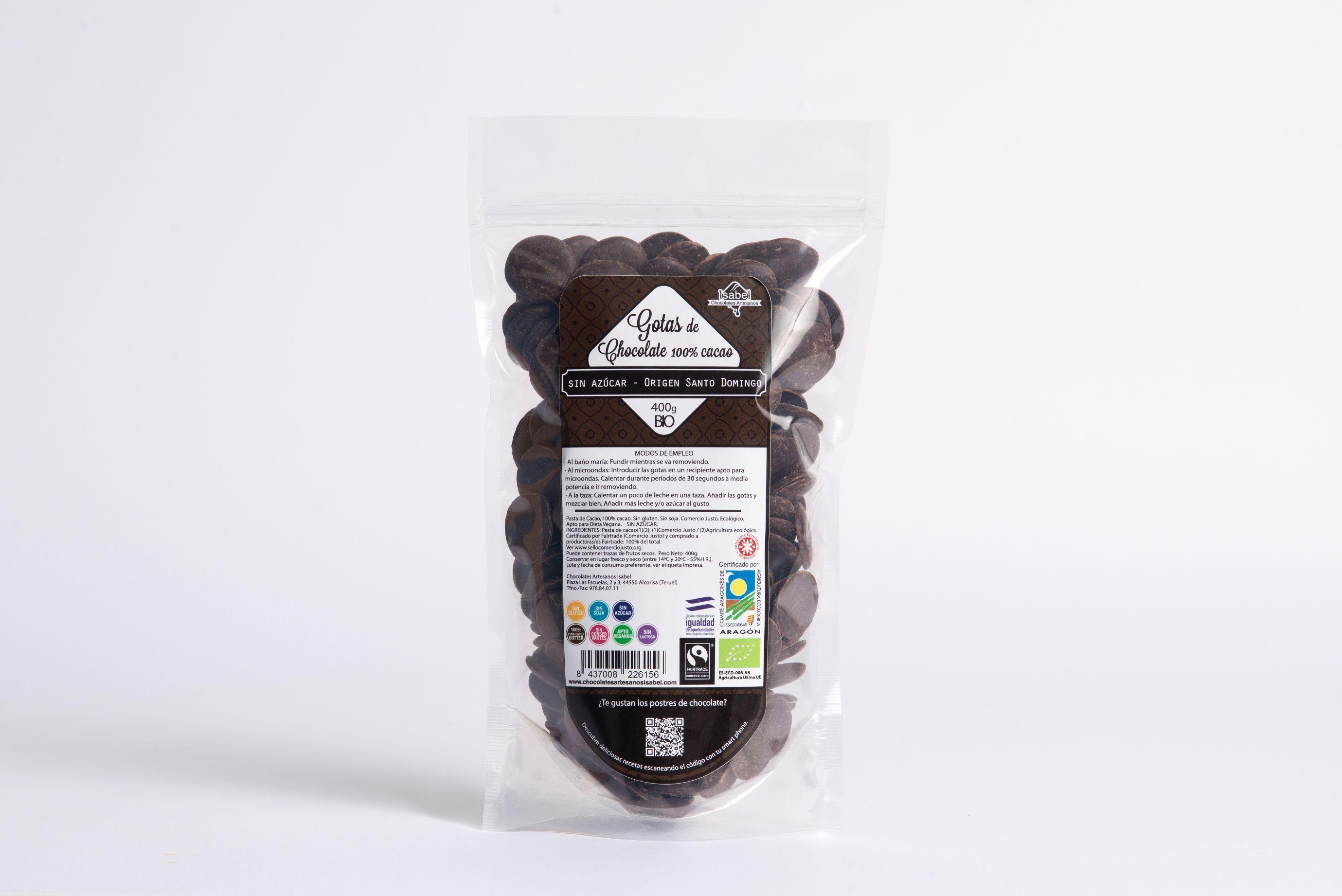 Gotas de Chocolate 100% cacao. Origen Santo Domingo.