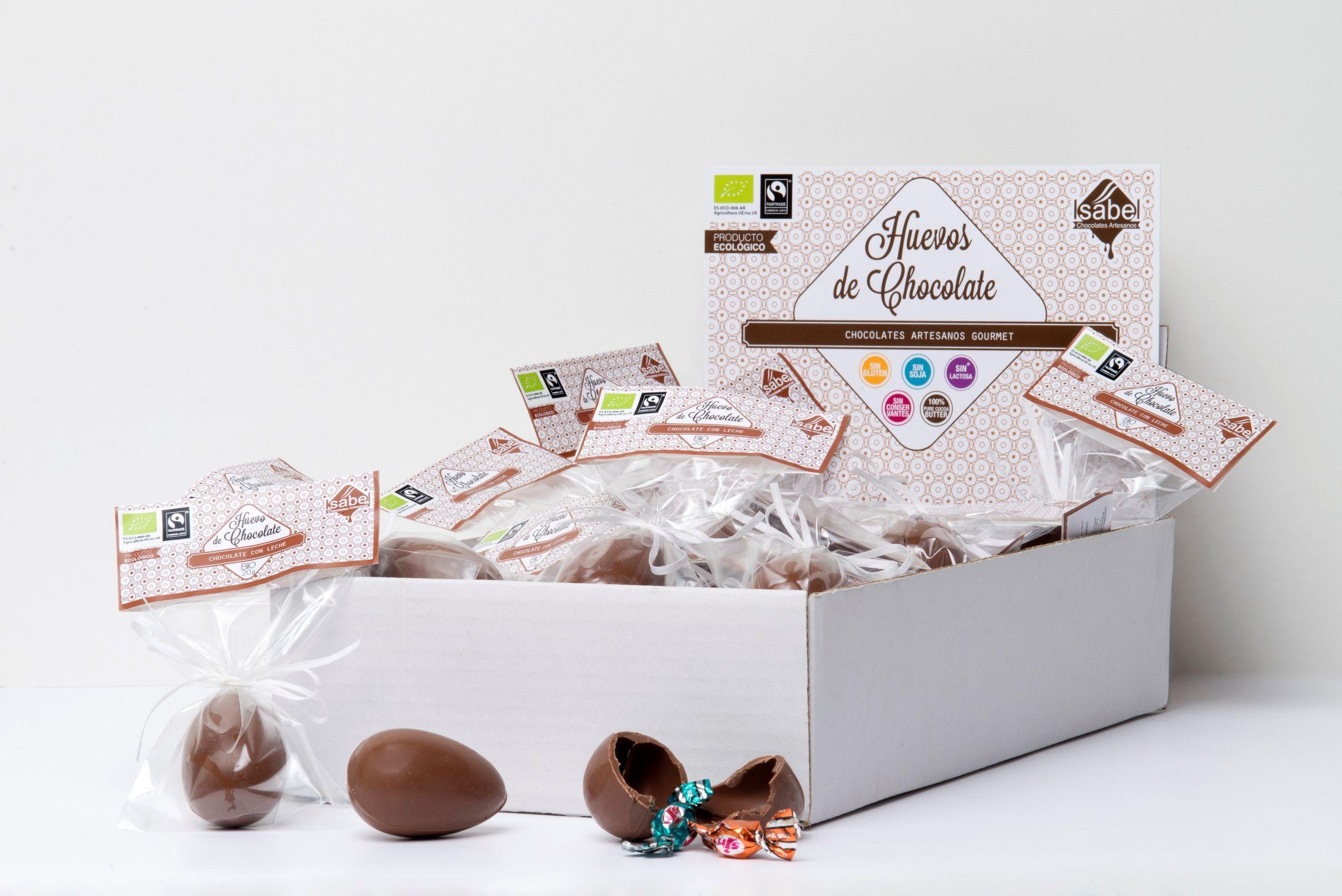 Huevos de Chocolate con leche, de comercio justo.