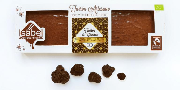 turrón de chocolate bio con trufa negra de teruel