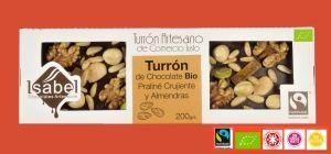 Turrón Artesano BIO FairTrade Praliné Crujiente Frutos Secos y Naranja