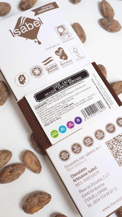 Tableta 100% Cacao Santo Domingo- BIO y Ecológica 2