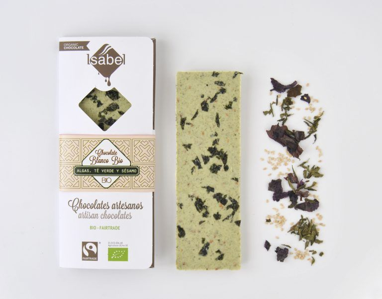 Tableta chocolate Blanco con Algas, Té Verde y Sésamo BIO FAIRTRADE