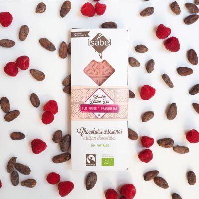 Tableta Chocolate Blanco, Yogur y Frambuesa - BIO y Ecológica