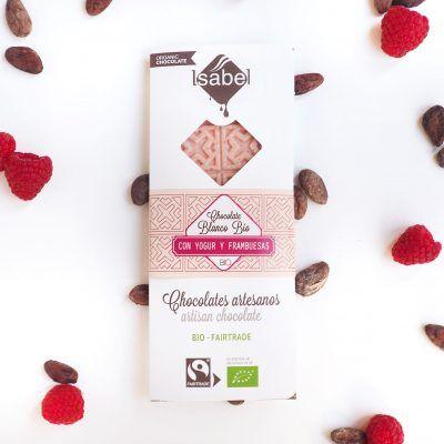 Tableta Chocolate Blanco con Yogur y Frambuesa ECO y BIO