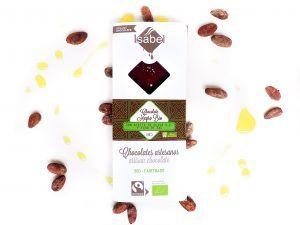 Tableta Chocolate Negro, AOVE y Flor de Sal BIO y ECO