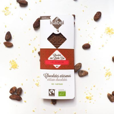 Tableta Chocolate con Leche y Petazetas de Limón BIO y FAIRTRADE