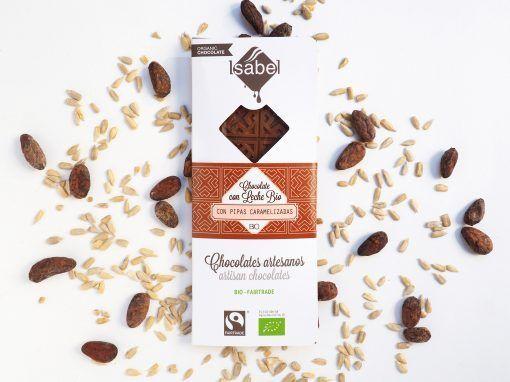 Tableta Chocolate con Leche y Pipas Caramelizadas - BIO y ECO