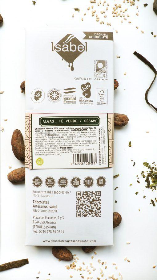 Tableta chocolate Blanco con Algas, Té Verde y Sésamo BIO FAIRTRADE
