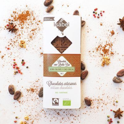 Tableta de Chocolate con LEche BIO con Quinoa Crujiente y Cinco Especias - FAIRTRADE