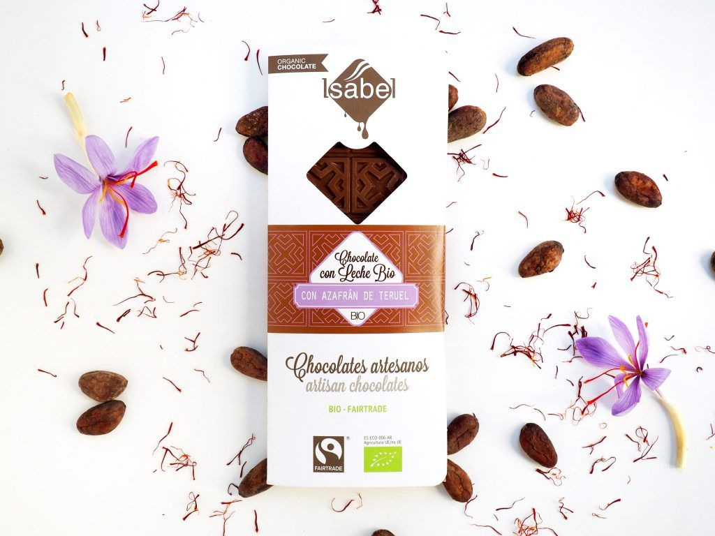 Tableta de Chocolate con Leche y Azafrán de Teruel - BIO y ECO