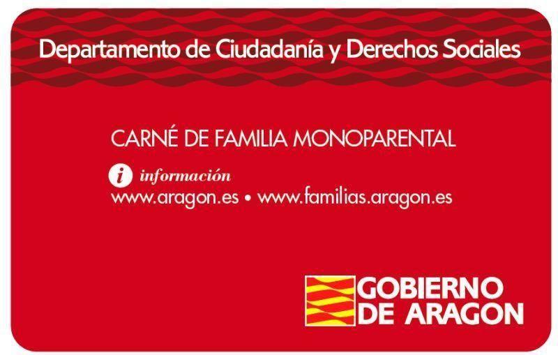 carnet familias monomarentales o monoparentales aragón