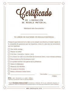certificado exencion regalo material