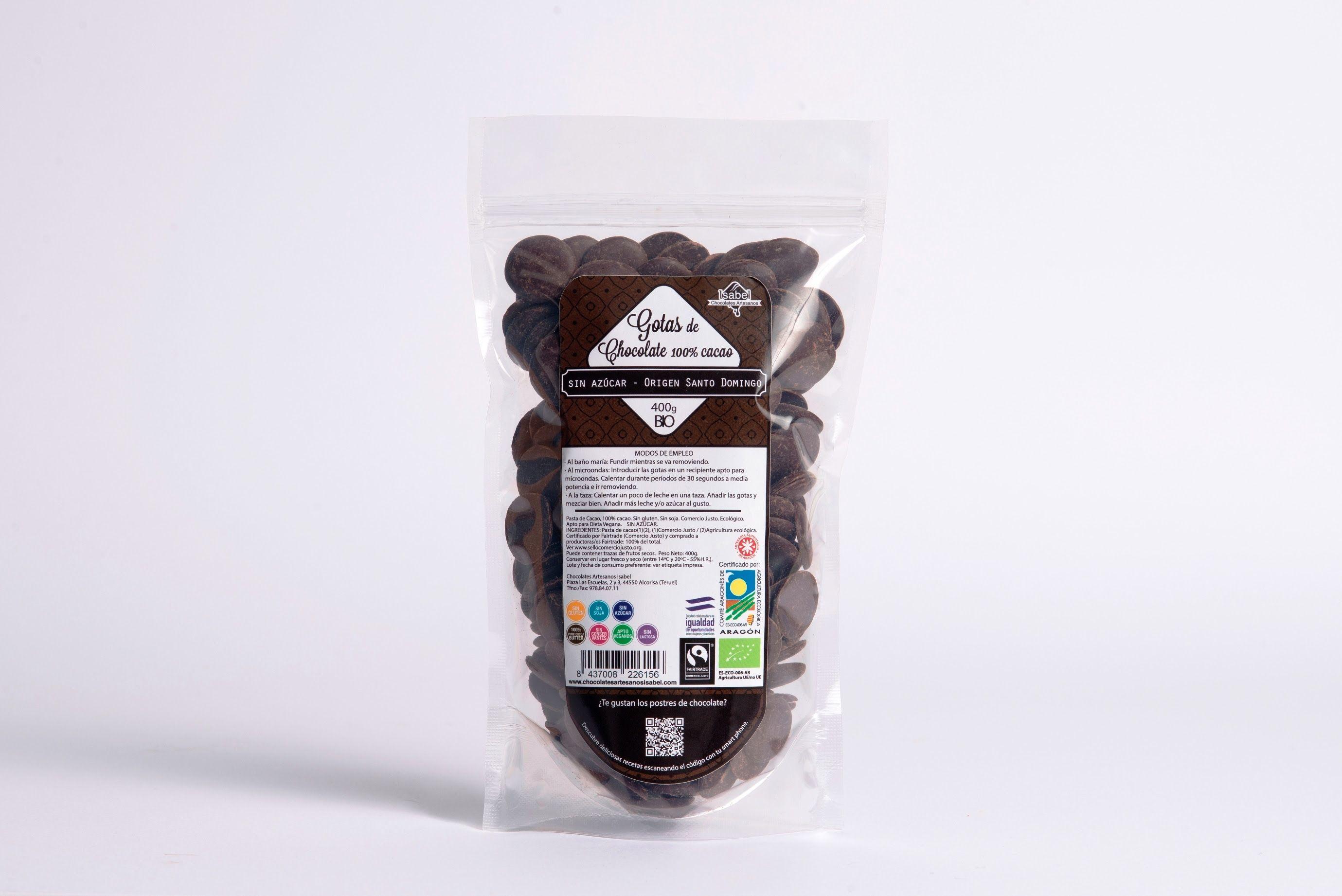 Gotas de Chocolate 100% cacao SIN AZÚCAR